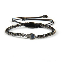 hamsa hände perlen großhandel-Großhandel 4mm Gold Messing Perlen mit Exquisite Kleine Blaue Cz Auge Fatima Hand Hamsa Macrame Armbänder