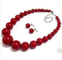 "Wholesale Indian Beautiful White Necklace - Beautiful 6-14mm Red Coral Round Beads Necklace Earring 18"" Set"