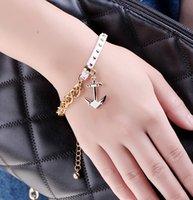 Wholesale Anchor Bracelet Velvet - 2017 hotselling multicolo wristbands I SHOW brand designer gold plated link chian velvet material anchor charm bracelets handmade jewelry
