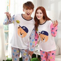 Wholesale woman home wear pajamas - Wholesale- New 2016 spring and autumn Lovers sleepwear silk long-sleeve cartoon lovers home wear couple pajamas sets for men and women