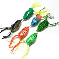 Wholesale Double Frog Hooks - Mix Color 6pcs lot New Soft Frog Lure Bass Fishing Double Hooks Bait Crankbaits Fishing Tackle Topwater Gear Accessories Free Shipping