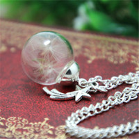 Wholesale Wholesale Shot Necklace - 10PCS Real dandelion necklace make a wish Necklace, real flower Necklace, shooting star dandelion seed jewelry, silver
