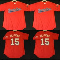 Wholesale Official Logo - Official Carlos Beltran Puerto Rico Jersey Mens 100% Stitched Embroidery Logos Throwback Baseball Jerseys Red Free Shipping