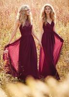 Wholesale Wine Color Evening Dress - Wine Red Bridesmaid Dresses Halter V Neck Prom Dress Long Evening Gowns boho wedding dress Country Western Wedding vestido longo Custom Made