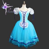 Wholesale Girls Lace Rosette Dress - Adult Cassical Ballet Tutus Blue Color Giselle Dresses Ballet Romantic Long Tutus For Girls Costumes, free shipping