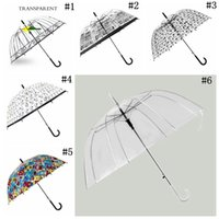 Wholesale Umbrella Pattern - Transparent Clear Arch Apollo Umbrella Birdcage Pattern Rain Girls Princess Umbrellas Wedding Party Favor 6 Styles OOA2387