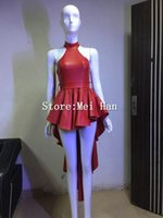 Wholesale Cute Dresses Nightclubs - Fashion Cute Red Leather Dress For Women Sexy Bow Trailing Party Dresses Stage Dance Nightclub Costume Female Singer Wear