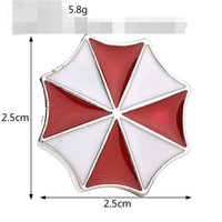 Wholesale Resident Evil Figures - alloy 2017 Resident Evil Brooches logo Mark Protective umbrella Brooch pins Red white Staggered Alternate Octagon Corsage Thorn women xz020
