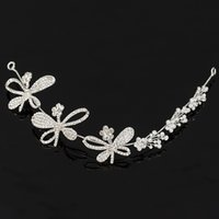 Wholesale Gold Tiaras For Sale - Bridal Rhinestone Crystal Hair Vine Tiara Crown Wedding Hair Chain Headpiece Dragonfly Decorative Headband for Women HOT Sale