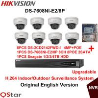 Wholesale Ip Dome Camera System - Hikvision Original English Security Camera System 8pcs DS-2CD2142FWD-I 4MP IP Dome Camera POE+6MP 2SATA 8POE NVR DS-7608NI-E2 8P