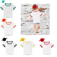 Wholesale Kids White Shirt Rounded Collar - 5 Colors Baby Shirts 2017 New White Girls Boys T-shirts With Flower Headband Summer Children Round Collar Tee Shirt Fashion Kids Tops A7123