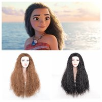 Wholesale Wigs For Carnival - New Movie Moana Princess Cosplay Wig Halloween Play Wig Party Stage Carnival Curly Hair for lady women adult Black, Brown High quality