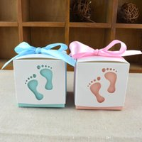 Wholesale Sweet Packing Box Wholesale - Candy Box Creative Engraved Baby Footprint Shape Full Moon Wedding Gift Packing Cute Bowknot Sweets Case With Ribbon 0 32wj R