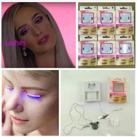 Wholesale party false eyelashes - New arrival LED Eyelashes False Eyelashes Fashion Glowing LED Interactive Flashes for Dance Concert Christmas Halloween Nightclub Party