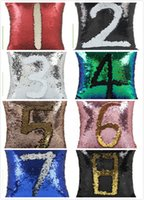 Wholesale Sequins Pillows - DHL Mermaid Sequins Pillow Case Sequin Cushion Magic Rainbow Reversible Pillow Covers Sofa Bright Glitter Car Cushion Home Decorative Office