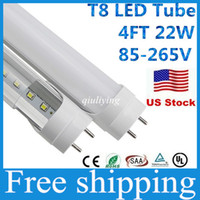 Wholesale Stock in US T8 Led Tube mm w ft Smd2835 Bulbs Integrated Tubes Light Fluorescent Cold Warm White Ac85 V UL