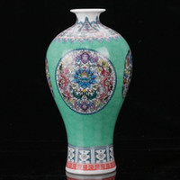 Chinese Famille Rose Porcelana Pintada à mão Dragon Flower Vase W Qianlong Mark