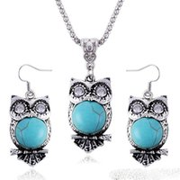 Wholesale Owl Chain Earrings - Vintage Bohemian Alloy Turquoise Necklace Earrings Set Cute Exaggerated Owl Pendant Jewelry Sets for Women Jewelry Accessories