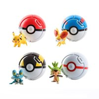 Wholesale Red Dolls - Wholesale Pokeball Go Toys Pocket Monster Explosion Pokeball Pikachu Super Master Model Figure Toys Pikachu Dolls In The Ball