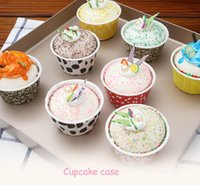 Wholesale Cupcake Cases Christmas - Hot !!! 10000pcs Mixed Design Round MUFFIN Paper Cake Cup CupCake case Liner Polka DOT and Stripe can be in oven