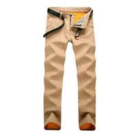 Wholesale Thick Fleece Pants Men 3xl - Wholesale- 2016 Winter Mens Khaki Joggers Fleece Lined Slim Fit Casual Thick Sweat Pants Male Fashion Gold Fleece Trousers Size 28-38 Q2576