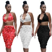 Wholesale Wholesale Two Piece Bodycon - Halter Crop Top Sexy Outfit Two Pieces Bodycon Midi Dresses With Lace Floral   3 Color S-XL   Wholesale Cheap DHL Fast Shipping