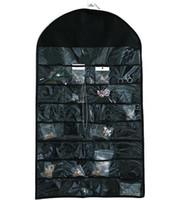 ingrosso deposito di gioielli-Nuovi 32 tasche gioielli appesi organizzatore orecchini collana gioielli display titolare biadesivo sacchetto di visualizzazione sacchetto di immagazzinaggio