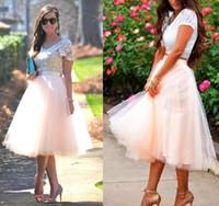 Wholesale White Tutu Dresses For Women - Wholesale Tea Length Tutu Skirt Party Dresses for Women Tiered Short Bridesmaid Dresses Ruffle Plus Size for Cheap Custom Made