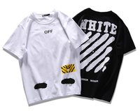Wholesale Teenagers Casual Shirts - Fashion Summer Off White Shirts Graffiti sketch Zebra Stripe Printing Cotton T-shirt Casual Short Sleeve Hip Hop Tees teenager hot tops