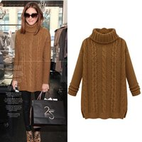 Wholesale Women Collar Crochet - Wholesale-Women Sweaters and Pullovers 2016 Autumn winter Casual Medium-Long Turn-Down collar Twist Knitted Wool Thicking Vintage Sweater