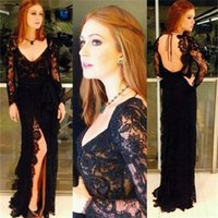 Backless Black Lace Prom Платья с длинным рукавом 2017 Sexy Side Split Scoop Neck Formal Women Evening Gowns Sheath Special Occasion Dress