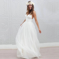 Wholesale Sexy Beach Wedding Dress Speghetti Plunging Neckline Sweep Train summer Honeymoon Dress Wedding Gowns vestido de noiva
