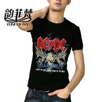 Wholesale Graphic Design Clothes - Wholesale- New Fashion Design AC DC Mens T Shirts acdc Graphic Printed Cotton Casual Tees Shirt Rock Band Hip Hop Shorts Men Clothing M-3XL