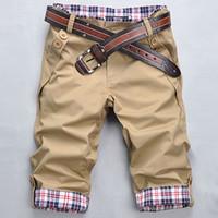 Wholesale fit cargo shorts - Wholesale- Summer Cargo Shorts Slim Fit Casual Men Streetwear Bottoms Plaid Waist Patchwork Fashion Skateboard Beach Shorts Plus size z15