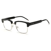 Wholesale Half Mens Suit - D.King New Vintage Classic Half Frame Semi-Rimless Wayfarer Clear Lens Glasses Suit for Womens Mens Frames 50mm Width Lens