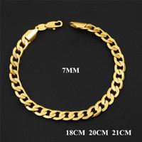 Wholesale 7mm bracelet - New Arrivals 7mm 18cm 20cm 21cm 18K Yellow Gold Plated Figaro Men Chain Bracelet for Men Women for Wedding Party