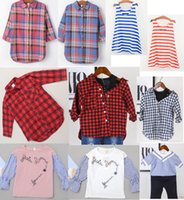 Spring / Autumn blue checkered shirt - New Fashion Girl Checkered Shirt Blue Vertical Shirts Cotton Design Selection Mix Color Red Striped