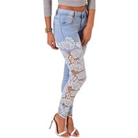 Wholesale Most Skinny - Wholesale- The most Long Lace Floral Skinny Spliced Hollow out Hole Straight Denim Jeans