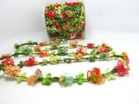 2 Yards gewebte Rokoko Ribbon Trim mit Fan Form Blumen Knospen | dekorative Floral Ribbon | Scrapbook Materialien | Dekor | Bastelbedarf