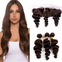Wholesale Hair Chestnut - Indian Loose Wave Virgin Hair Color #4 Medium Brown Human Hair Weaves 3 Bundles With Lace Frontal Closure Chestnut Brown Hair Extensions