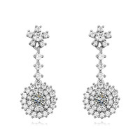 Wholesale Design Earings - latest flower design bohemian style jewelry for women wedding party nickel free plated design bridal cubic zirconia earings
