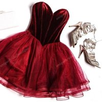 Wholesale Sweetheart Neckline Dresses For Homecoming - 2k17 Burgundy Velvet Homecoming Dresses for Teens with Exposed Boning & Tulle Skirt Real Photo Short Cut Party Dress Sweetheart Neckline