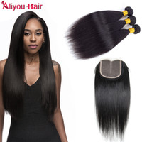 Top Quality Unprocessed Brazilian Virgin Straight Human Hair Weaves with Closure B2B Atacado Remy Hair Wefts Lace Encerramento suave e sedoso
