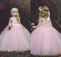 Wholesale infants formal wear - Blush Pink Flower Girls Dresses Tulle Ruffles Girls Pageant Dress For toddler infant Custom Made First Communion Dress Kids Formal Wear