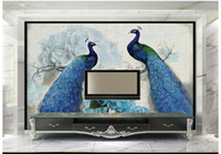 Wholesale 3d paintings free wallpaper resale online - High Quality Custom d wallpaper murals Blue peacock retro flower painting rich background wall paper room wallpaper decor