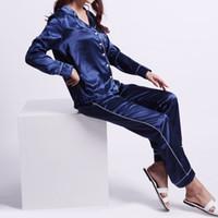 Wholesale Womens Cotton Pajamas - 2017 Womens Silk Satin Pajamas Sets Casual Sleepwear Long Sleeve Nightgowns S,M, L Long Pants Sleepwear Pajamas Sets aytumn & summer