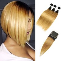 Wholesale honey blonde ombre dark hair for sale - Malaysian Straight Hair Bundles with Lace Closure T1B Dark Root Honey Blonde Extensions Ombre Human Hair Weave Free Middle Three Part