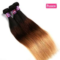 Wholesale Remy Human - Passion Ombre Hair Extensions 4 Bundles Straight Brazilian Virgin Hair Three Tone 1b 4 27# Ombre Remy Human Hair Weaves