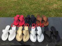 Wholesale flip flops clips - Fashion Women Litchi Sandals Slippers Casual Cowhide Flip Flops Toe clip slippers Large Size US3.5-11.5