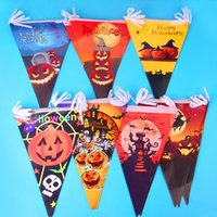 Wholesale Flag String Banner - Halloween Party Bar KTV Setting Decoration Props Hangings Pumpkin Banner Skeleton Colorful Flags Halloween Paper Banner 10Pcs String